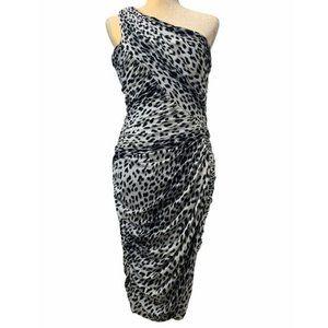 Tadashi Shoji One Shoulder Dress Animal Print Ruched Black White Bodycon Lined